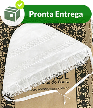 Touca para Batizado com Bico em Renda Paraíba  - Bordados do Ceará - Jutnet