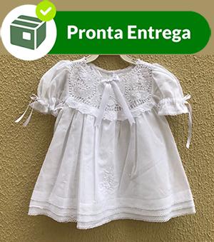 VESTIDO BORDADO À MÃO COM PALA RENDA RENASCENÇA - 3-6M  - Bordados do Ceará - Jutnet