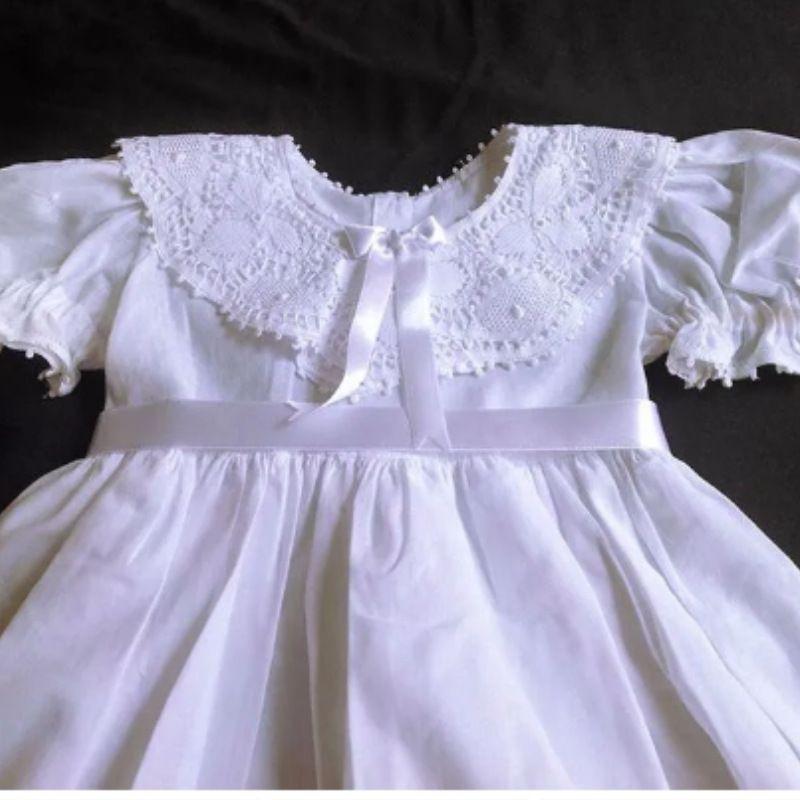 Vestido Bordado a Mão com Renda Renascença 6 meses a 1 ano  - Bordados do Ceará - Jutnet