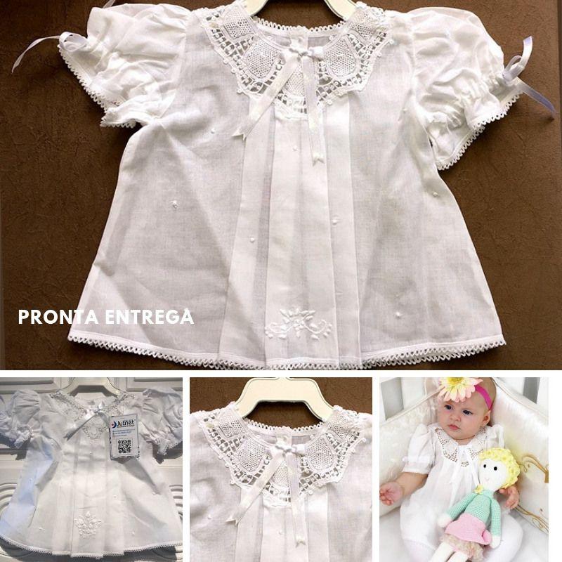 Vestido com Pala em Renda Renascença Branco feito a mão - 1-3 M  - Bordados do Ceará - Jutnet