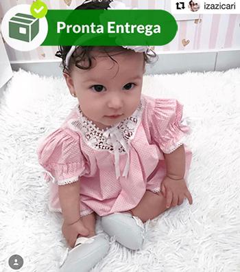 VESTIDO COM PALA RENDA RENASCENÇA E POÁ -ROSA - RN-3M  - Bordados do Ceará - Jutnet