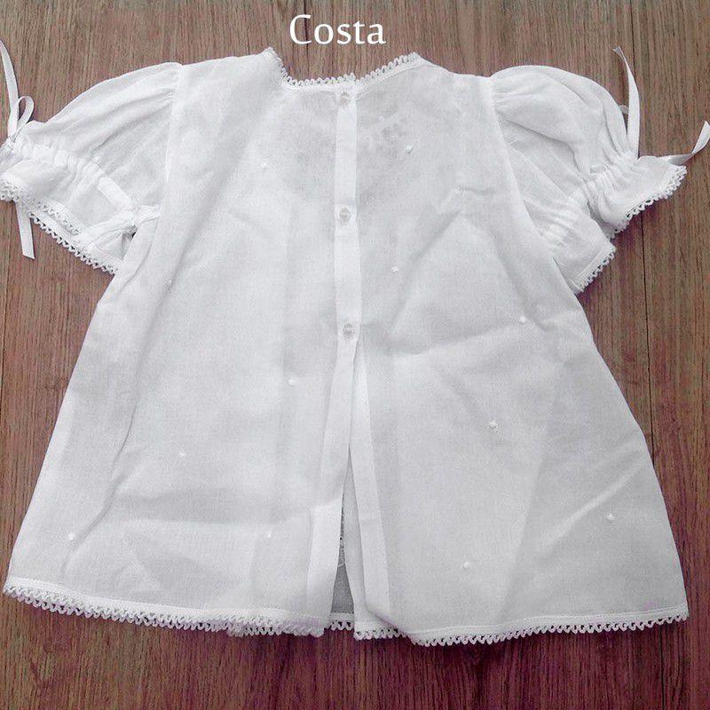 Vestido com Pala em Renda Renascença Feito a Mão 1-3 Meses Branco  - Bordados do Ceará - Jutnet