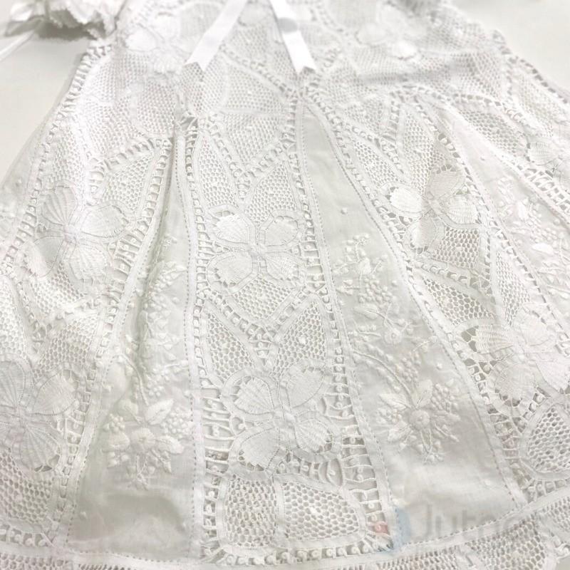 Vestido em Renda Renascença Bordado a Mão Flores 6m-1Ano  - Bordados do Ceará - Jutnet