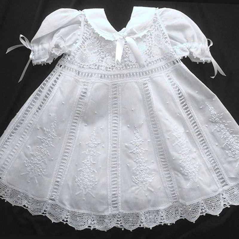 Vestido Nesga Fina em Renda Renascença Bordado a Mão 6m-1Ano  - Bordados do Ceará - Jutnet