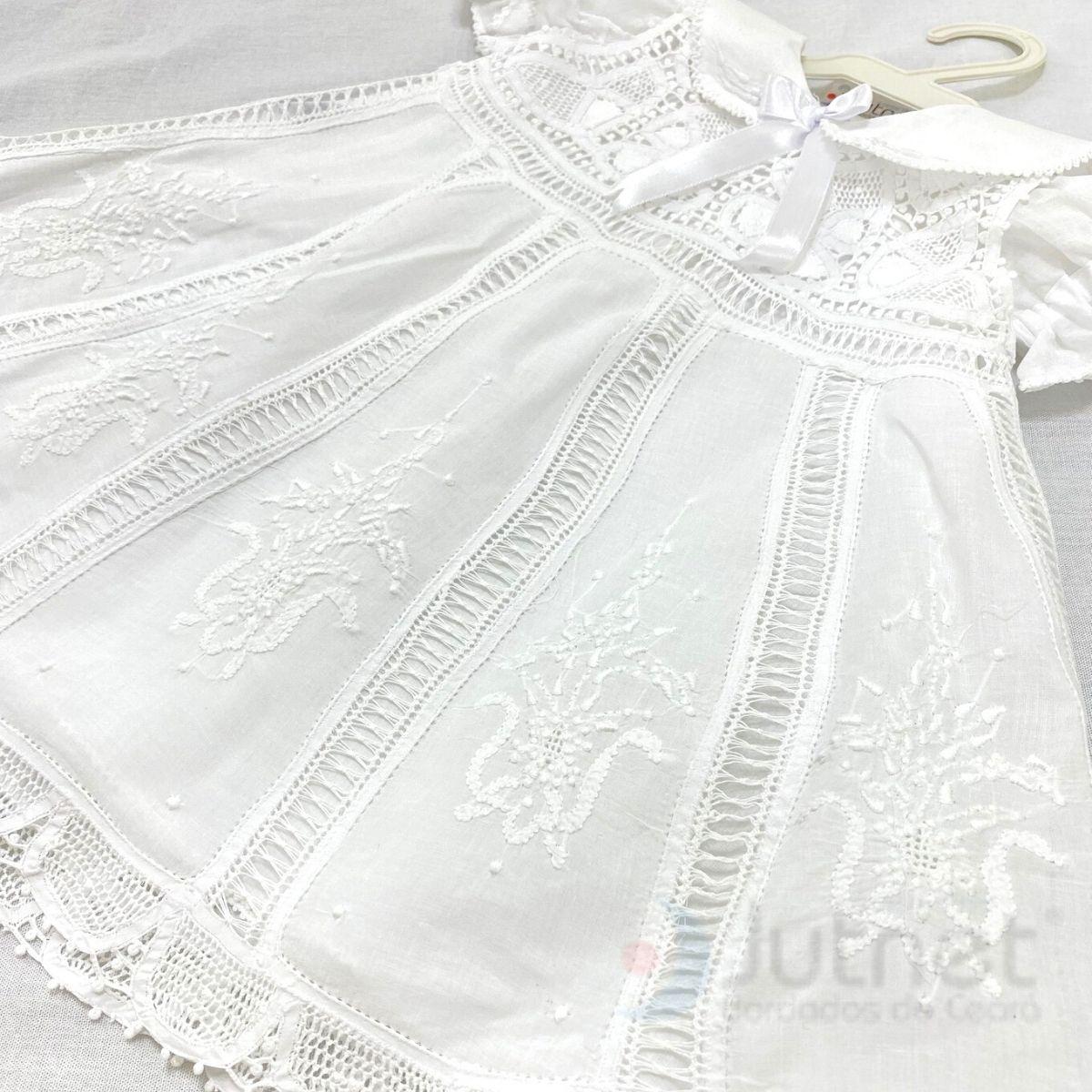 Vestido com Renda Renascença Bordado a Mão Nesga Fina 6-1ano  - Bordados do Ceará - Jutnet