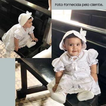 VESTIDO NESGA LÁGRIMA BORDADO À MÃO COM RENDA RENASCENÇA - 1ANO  - Bordados do Ceará - Jutnet