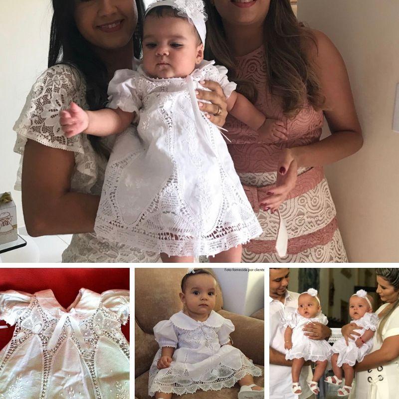 Vestido Nesga Lágrima Renda Renascença e Bordado a Mão 6m- 1 Ano  - Bordados do Ceará - Jutnet