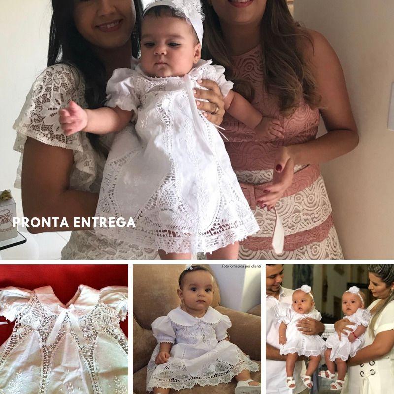 Vestido Nesga Lágrima Renda Renascença e Bordado à Mão 6m-1 ano  - Bordados do Ceará - Jutnet