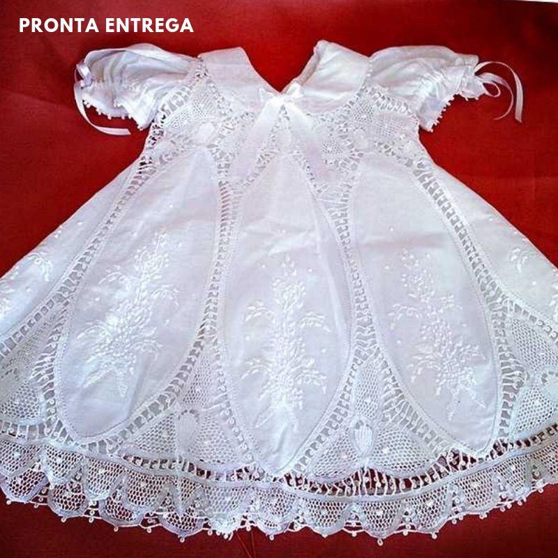 Vestido Nesga Lágrima Renda Renascença e Bordado a Mão 6m 1 Ano  - Bordados do Ceará - Jutnet