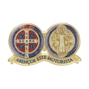 Adesivo Resina Medalha São Bento 9cm Abençoe Este Motorista