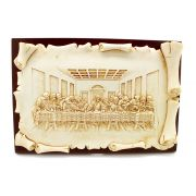 Adorno de Mesa ou Parede Santa Ceia resina e madeira Pergaminho - 22cm