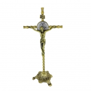 Crucifixo de Mesa metal Estilizado 23cm PV SB