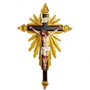 Crucifixo De Resina Barroco Estilo Antigo Policromado 75cm