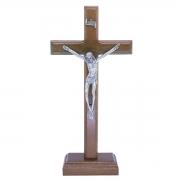 Crucifixo Madeira - 19cm Prata Velha