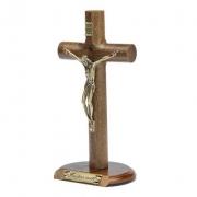 Crucifixo Madeira Cilíndrica Mesa 17cm OV