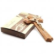 Crucifixo Moldado Madeira Cor Ouro Velho Medalha São Bento 25cm
