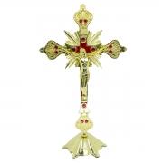 Crucifixo Pedestal Detalhes Com  Strass Vermelho 33CM