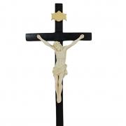Crucifixo Tradicional 30cm Cruz De Madeira Imagem Resina Cor Marfim