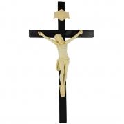 Crucifixo Tradicional Madeira Imagem De Resina Cor Marfim 70cm