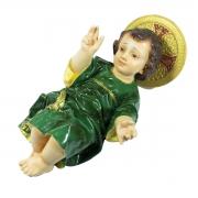 Imagem Escultura Menino Jesus  C/ Aureola 25cm Verde