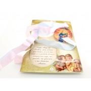 Medalhão de Berço em Acrílico Anjo da Guarda cartão com Oração
