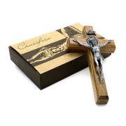 Mini Crucifixo Madeira para Parede Metal Onix - 12cm