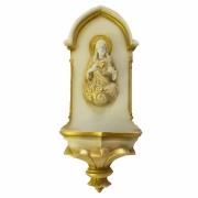 Pia de Água Benta Gótica Sagrado Coração de Jesus Bege