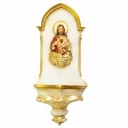 Pia de Água Benta Gótica Sagrado Coração de Jesus Dourada