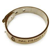 Pulseira Bracelete de Couro Sintético  Sinal do Cristão, Pai , Filho e Espírito Santo