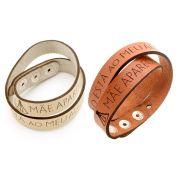Pulseiras braceletes de Couro Sintético  duas voltas - Mãe Aparecida