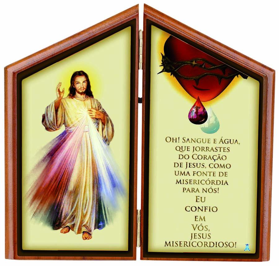Adorno de Mesa de Jesus Misericordioso com Oração