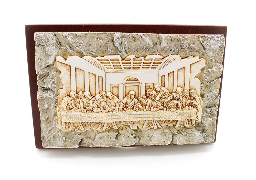 Adorno de Mesa ou Parede Santa Ceia resina e madeira - 17cm