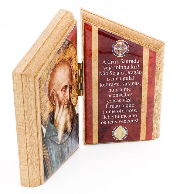 Adorno - Oração de Mesa São Bento - madeira