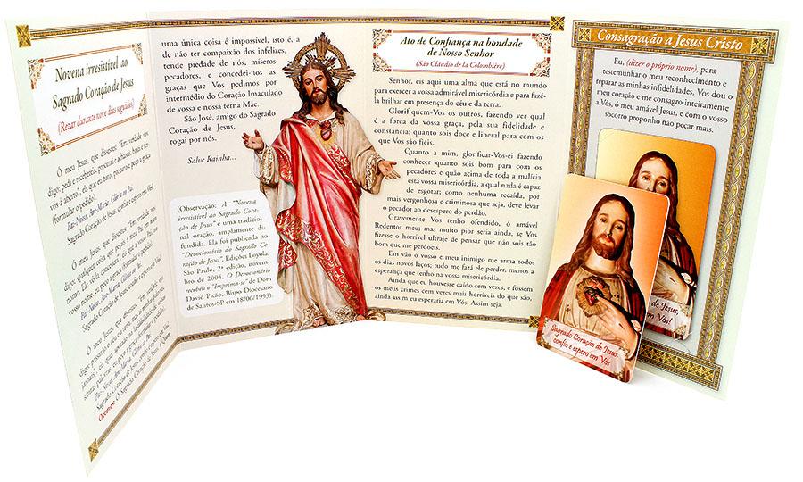 Cartão em PVC Sagrado Coração de Jesus + Livreto