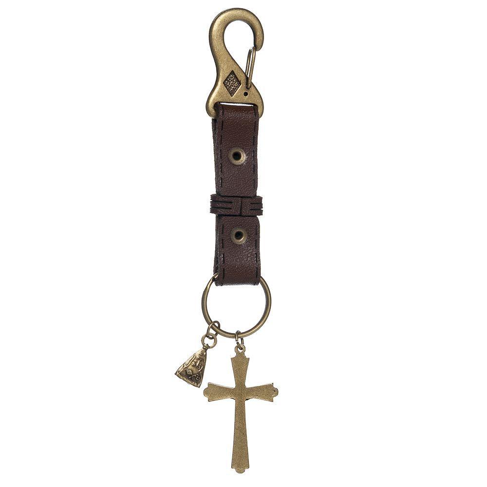 Chaveiro Couro Crucifixo e Nossa Senhora Aparecida