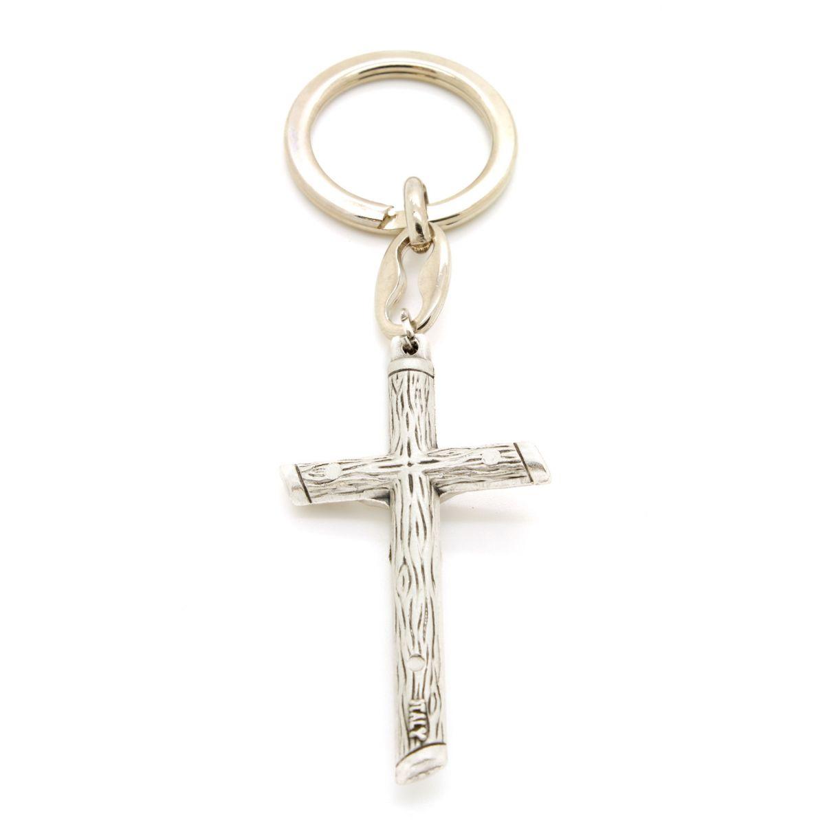 Chaveiro Crucifixo Estilizada Prata Velha - 10cm