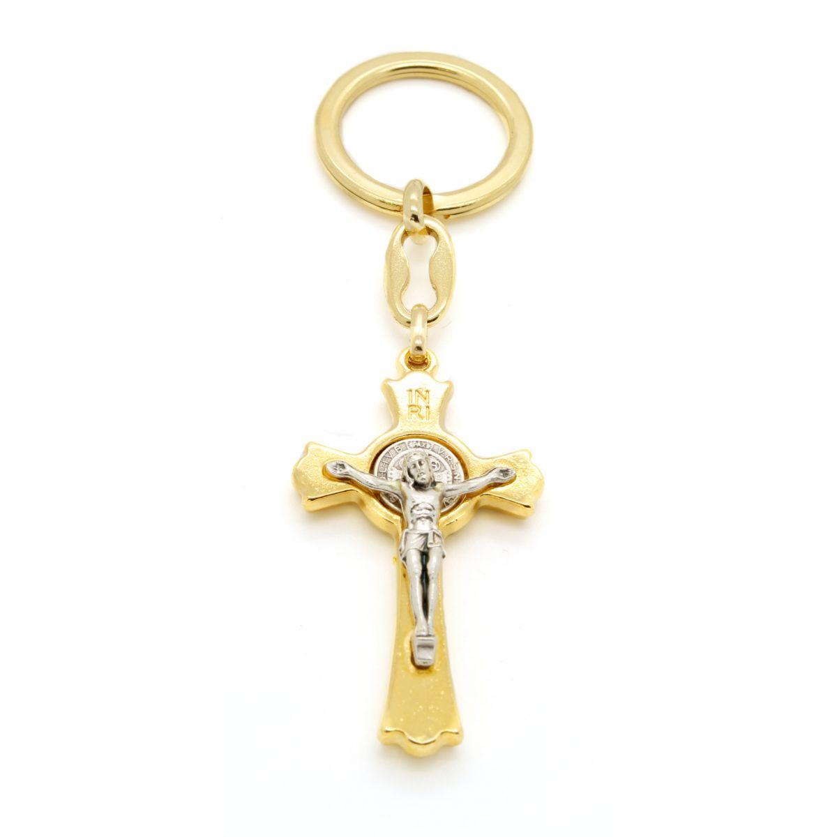 Chaveiro Crucifixo Medalha de São Bento - 10cm