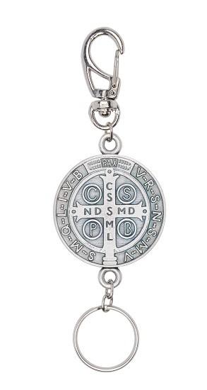 Chaveiro mosquete São Bento extragrande - prata velha