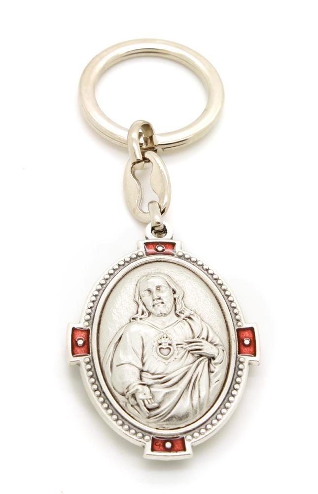 Chaveiro Oval Dupla Face Sagrados Corações Jesus e Maria - 10cm