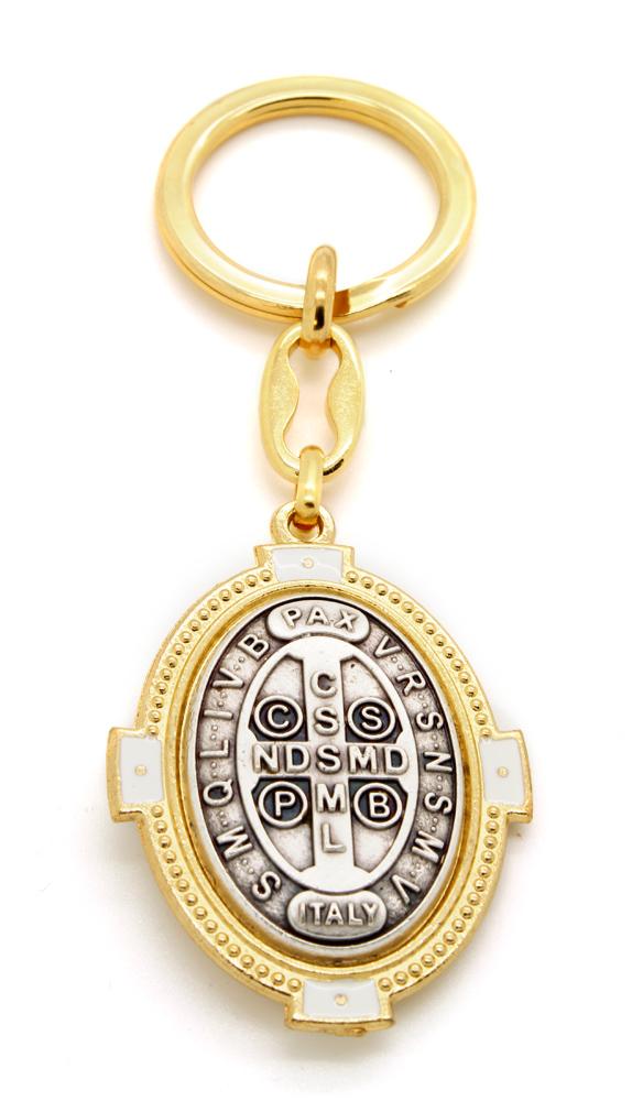 Chaveiro Oval Medalha de São Bento com Resina - 10cm