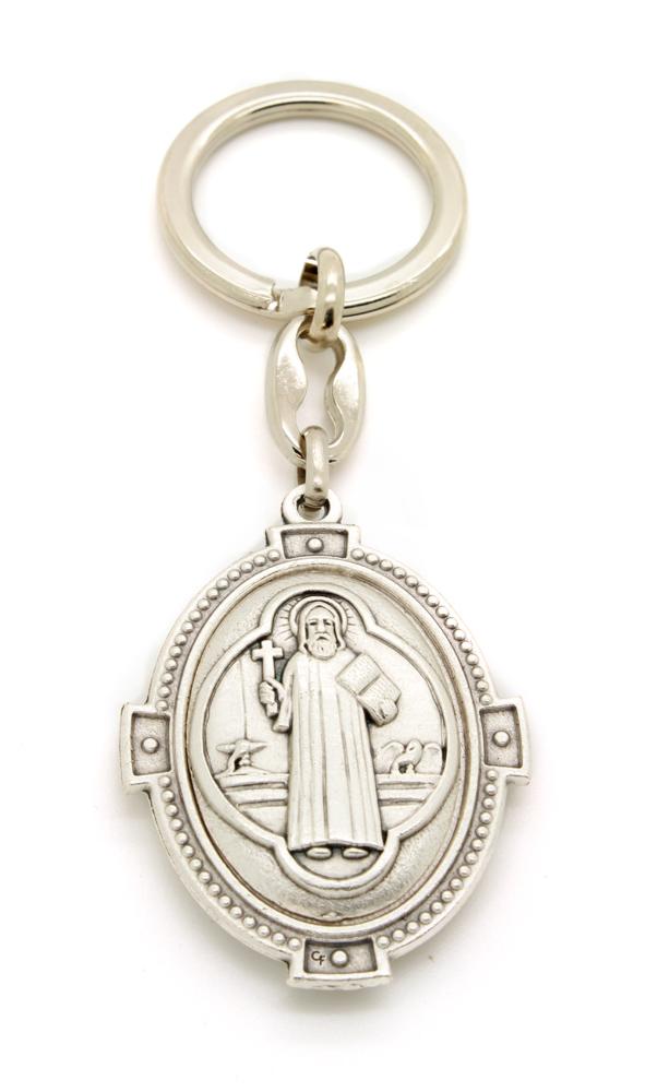 Chaveiro Oval Medalha de São Bento Prateada - 10cm