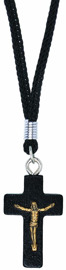 Colar Cruz Madeira Escura - 3 cm