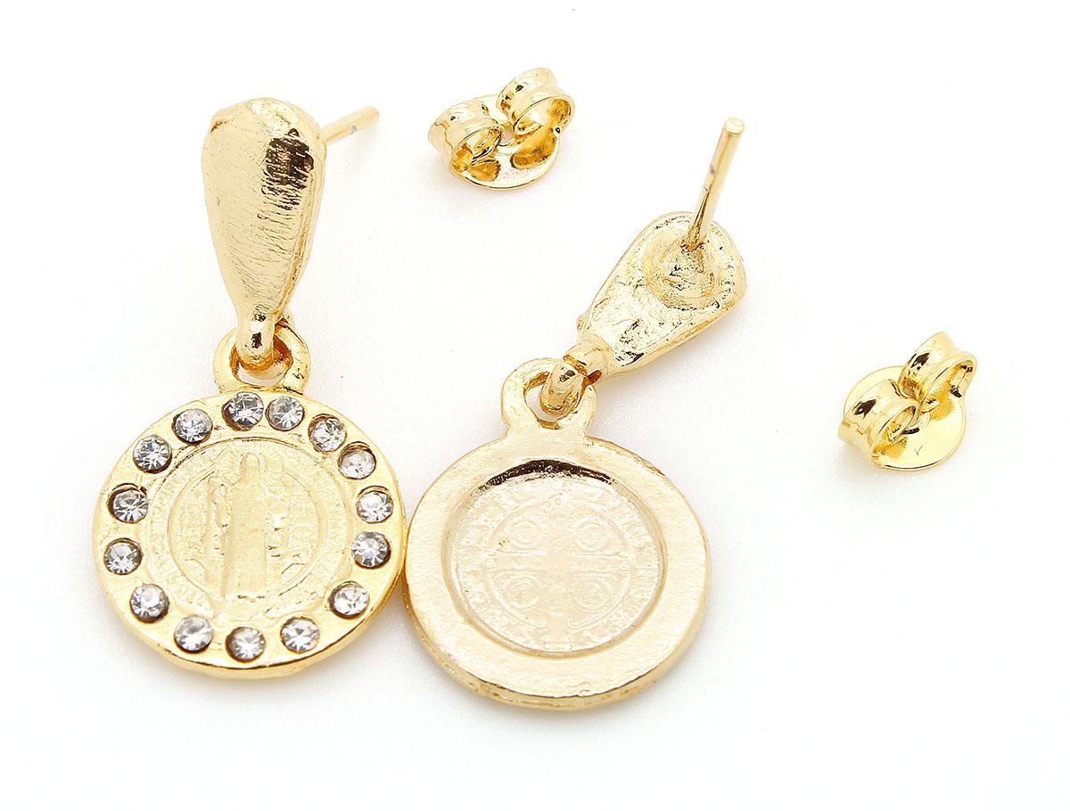 Conjunto de Brincos + Pingente na corrente Folheados a Ouro com Strass - São Bento