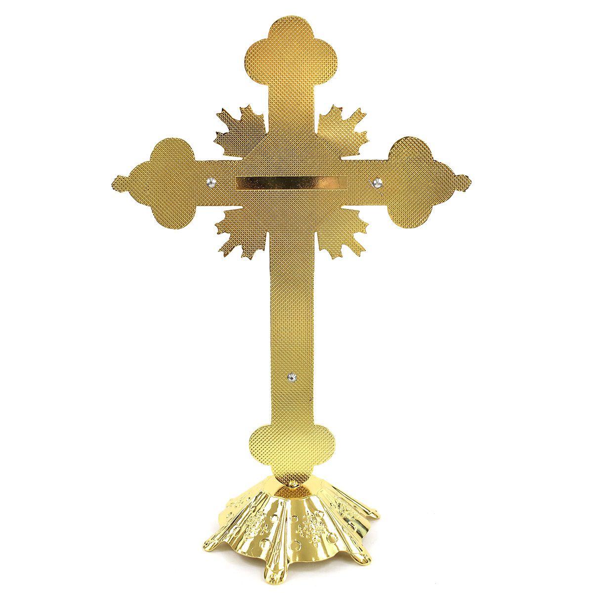 Crucifixo Pedestal Detalhes Com  Strass e Madrepérola 29CM