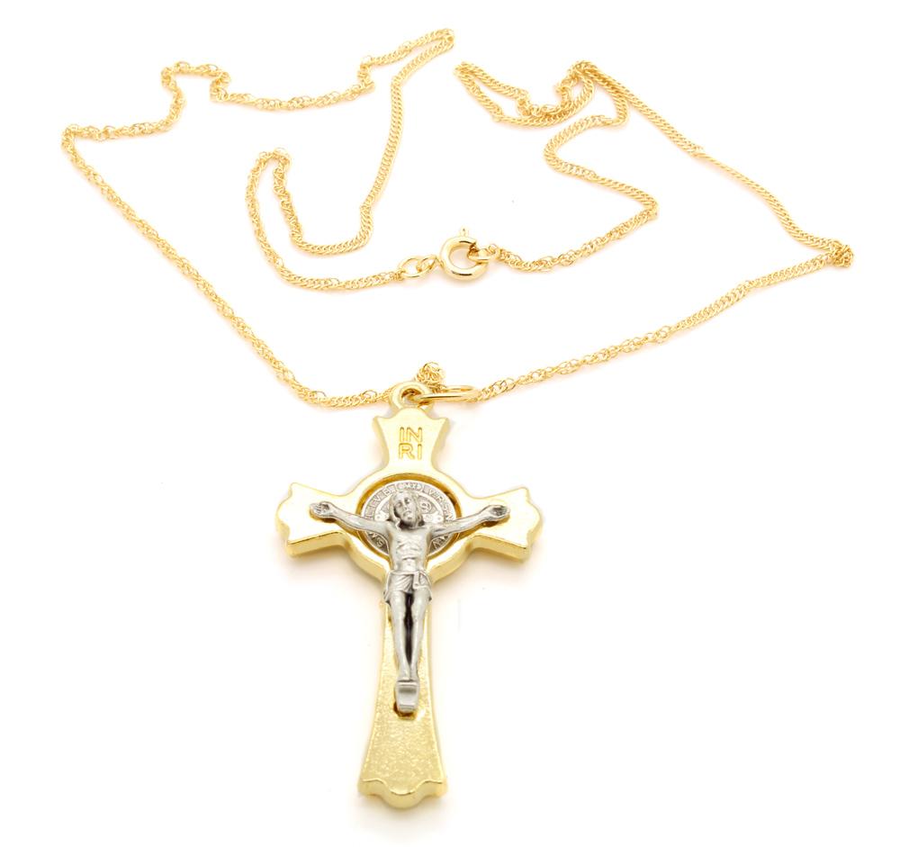 Corrente Colar Com Cruz Medalha de São Bento  Dourado com Prata