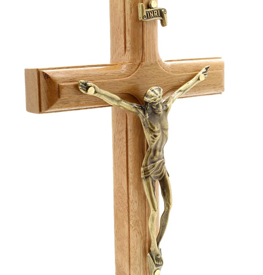 Crucifixo com Medalha de São Bento - 19cm Ouro Velho
