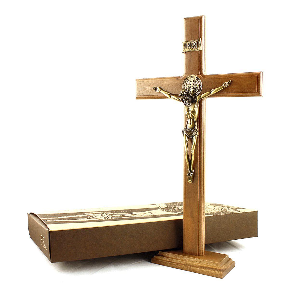 Crucifixo com Medalha de São Bento - 35cm
