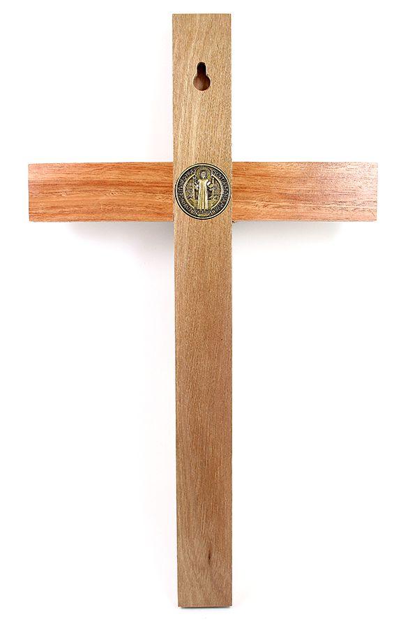 Crucifixo com medalha de São Bento para parede 35cm