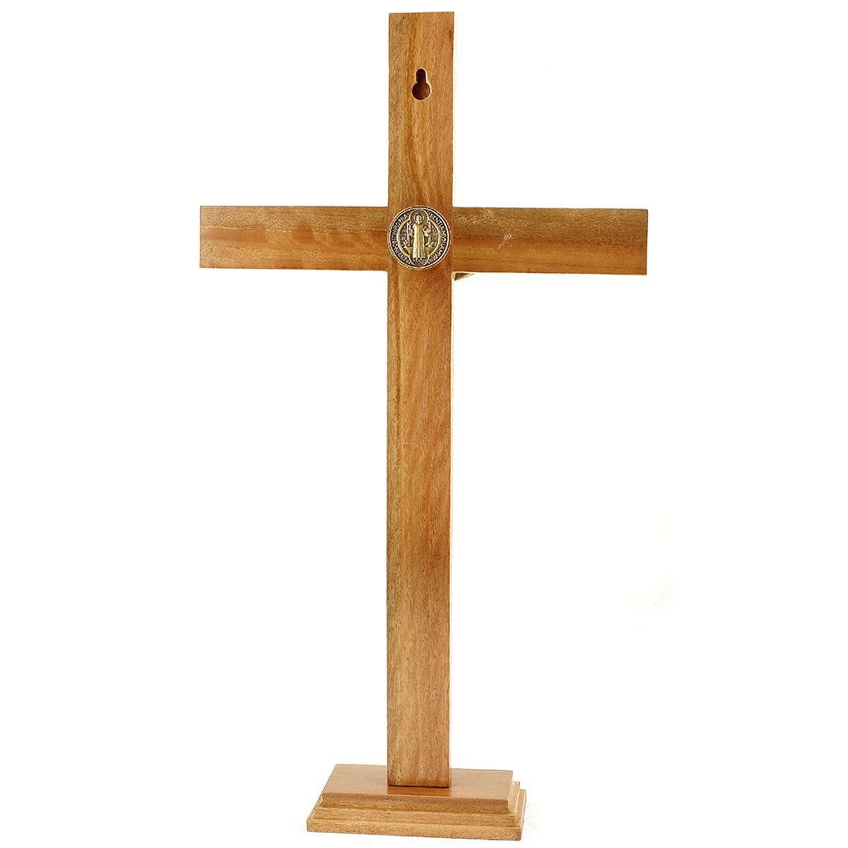 Crucifixo com medalha de São Bento para parede ou mesa 40cm