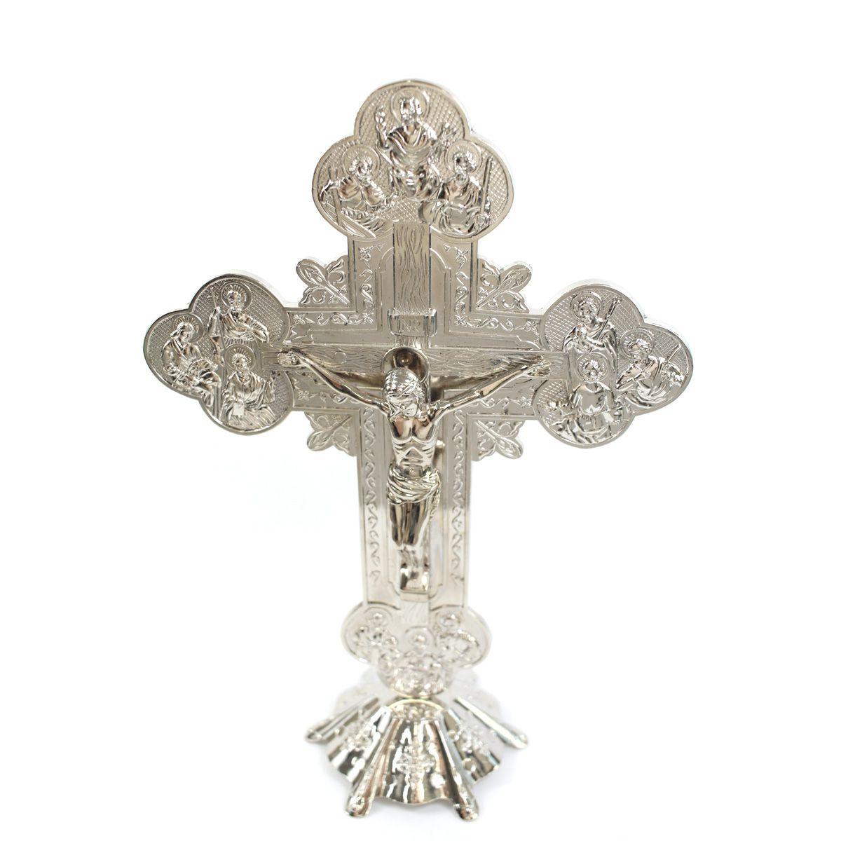 Crucifixo com Pedestal de Mesa Detalhes nas Pontas 30 cm
